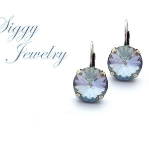 Swarovski® Crystal Drop Earrings, Dusty Blue Shade